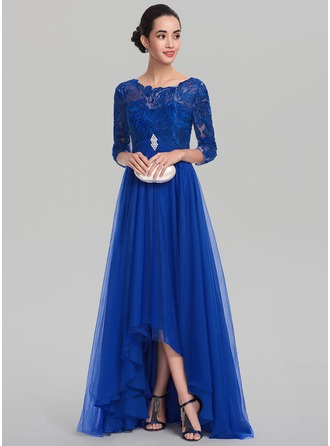 Scoop Neck Asymmetrical Tulle Evening Dress