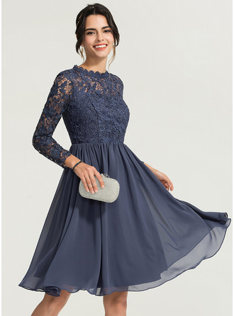 High Neck Knee-Length Chiffon Cocktail Dress