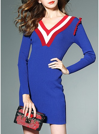 Spandex/Chinlon/Viscose With Stitching Above Knee Dress