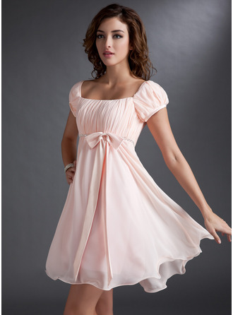 Empire Square Neckline Short/Mini Chiffon Bridesmaid Dress