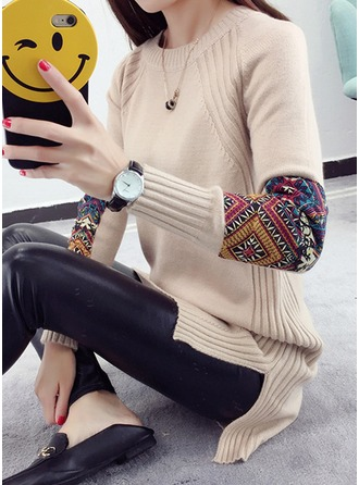 Polyester Round Neck Patchwork Sweater