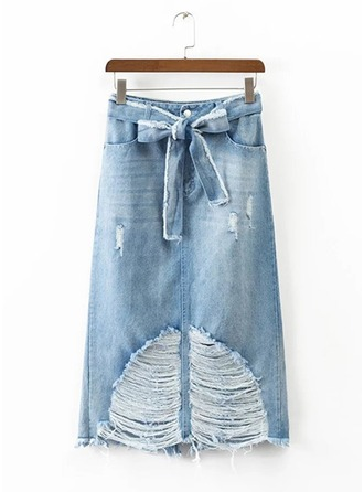 Demin Skirts Knee Length Plain Denim Rok