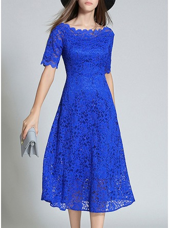 Lace With Lace/Sequins/Embroidery/Hollow Midi Dress