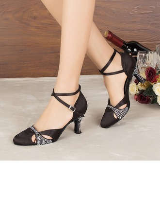 Women's Satin Heels Sandals Pumps Latin Modern Party With Rhinestone Dance Shoes