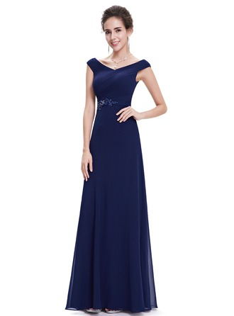 Polyester/Satin/Silk Blend mit wulstige/Applikationen Maxi Kleid