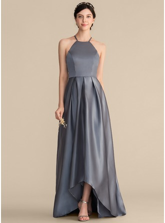 Square Neckline Asymmetrical Satin Prom Dresses With Ruffle Bow(s)