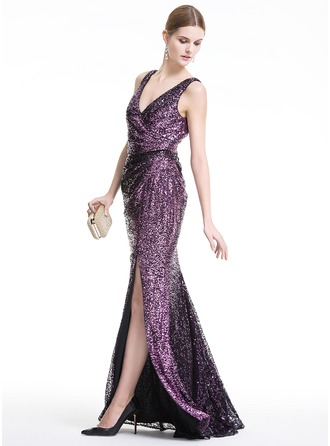 Sheath/Column V-neck Floor-Length Sequined Evening Dress With Split Front