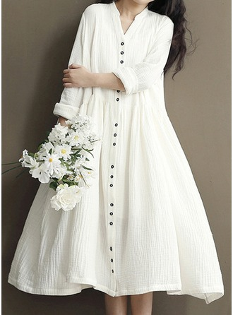 Cotton/Ramie With Stitching Knee Length Dress