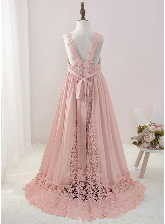 Floor-length Flower Girl Dress - Chiffon Lace Sleeveless V-neck With Beading