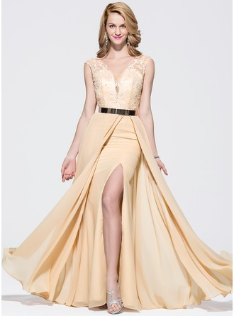 A-Line/Princess V-neck Floor-Length Chiffon Lace Prom Dress With Split Front