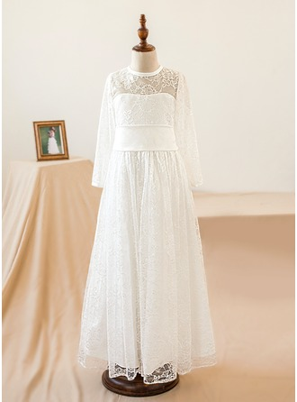 A-Line/Princess Floor-length Flower Girl Dress - Lace Long Sleeves Scoop Neck With Lace/Bow(s)