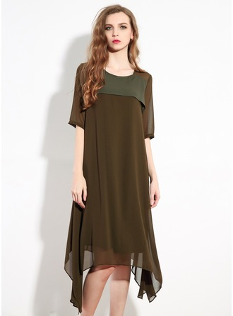 Chiffon With Stitching Asymmetrical Dress(Belt is not included)
