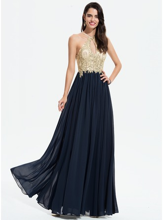 Scoop Neck Floor-Length Chiffon Prom Dresses With Lace Beading