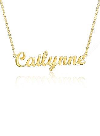 Custom 18k Gold Plated Silver Name Necklace
