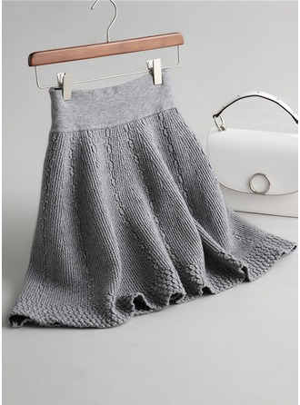 A-Line Skirts Above Knee Plain Knitting Skirts
