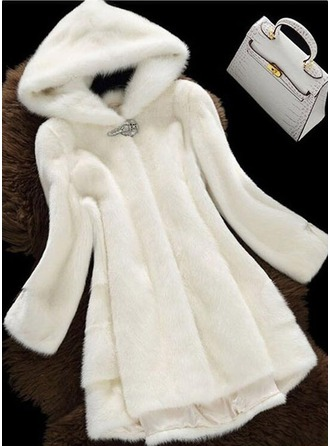Faux Fur Long Sleeves Plain Wool Coats
