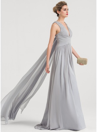 V-neck Sweep Train Chiffon Evening Dress With Beading Sequins