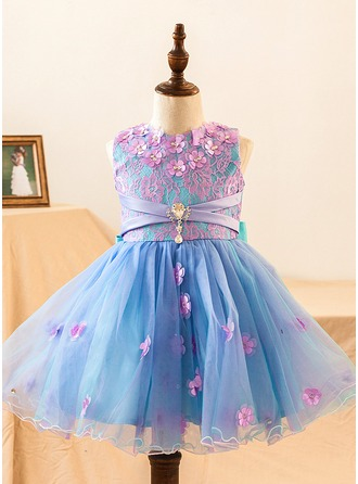 A-Line/Princess Knee-length Flower Girl Dress - Satin Sleeveless Scoop Neck With Flower(s)/Bow(s)