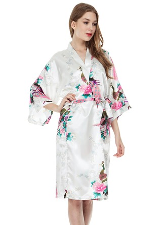 Bride Bridesmaid Polyester With Knee-Length Floral Robes Kimono Robes