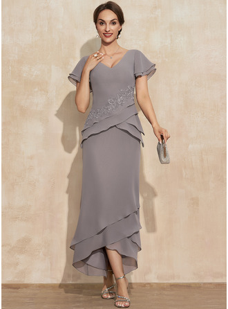 Sheath/Column V-neck Asymmetrical Chiffon Mother of the Bride Dress With Appliques Lace Cascading Ruffles