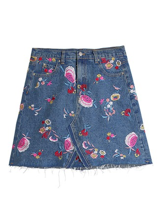 Demin Skirts Above Knee Embroidery Denim Skirts