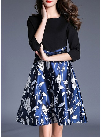 Cotton Blends With Stitching/Print Above Knee Dress