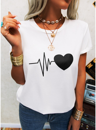 Regular Cotton Blends Round Neck Print Heart 3XL L S M XL XXL Blouses