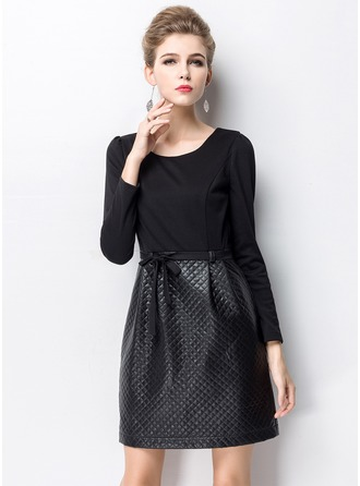 Polyester/Cotton/PU With Stitching Above Knee Dress