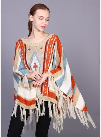 Geometric Print Oversized/fashion/simple Artificial Wool Poncho