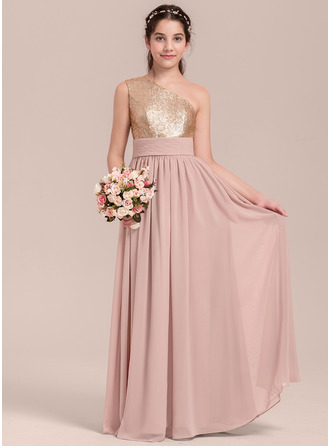Floor-length Flower Girl Dress - Chiffon Sequined Sleeveless One-Shoulder