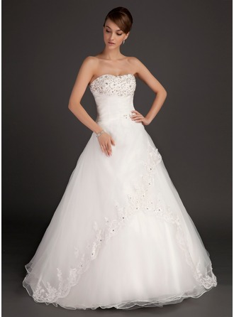 Sweetheart Floor-Length Satin Organza Wedding Dress With Ruffle Lace Beading