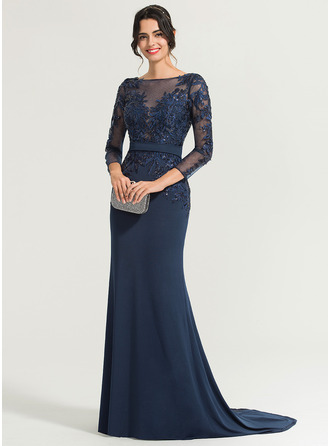 Trumpet/Mermaid Scoop Neck Sweep Train Jersey Evening Dress With Sequins