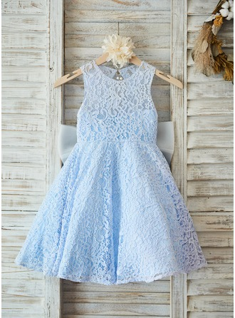 A-Line/Princess Knee-length Flower Girl Dress - Lace Sleeveless Scoop Neck With Sash/Bow(s)/Back Hole