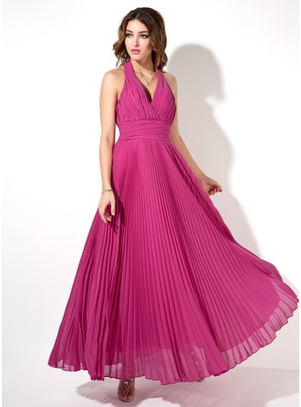 A-Line/Princess Halter Ankle-Length Chiffon Evening Dress With Pleated