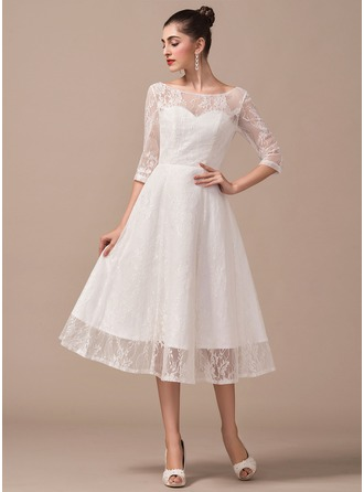 Scoop Neck Tea-Length Lace Wedding Dress