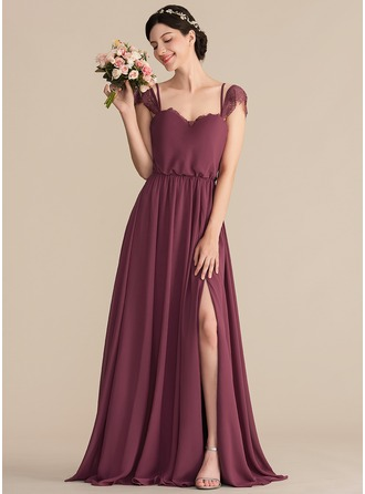 Sweetheart Floor-Length Chiffon Bridesmaid Dress With Lace Split Front