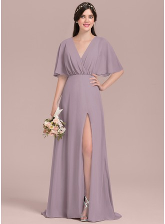 A-Line/Princess V-neck Floor-Length Chiffon Bridesmaid Dress With Bow(s) Split Front