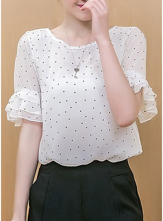 Chiffon Round Neck Plain 1/2 Sleeves Casual Blouses