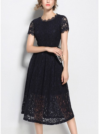Lace With Lace/Hollow Midi Dress
