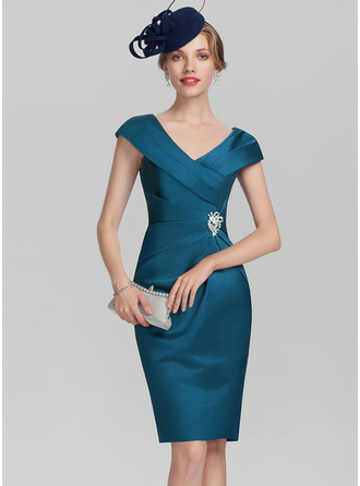 Sheath/Column V-neck Knee-Length Satin Mother of the Bride Dress