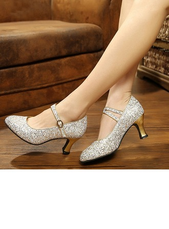 Women's Sparkling Glitter Pumps Modern Salsa Party Tango With Ankle Strap Dance Shoes
