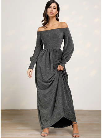 Off the Shoulder Long Sleeves Lantern Sleeve Maxi Dresses