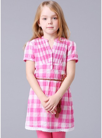 A-Line/Princess Short/Mini Flower Girl Dress - Polyester/Cotton Blends Sleeveless Scoop Neck