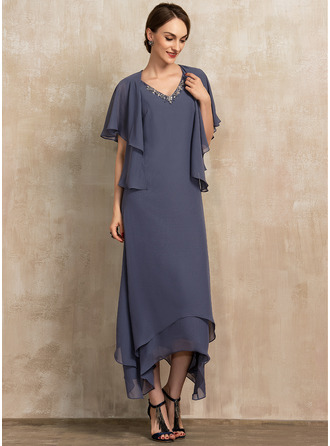 V-neck Ankle-Length Chiffon Mother of the Bride Dress With Beading