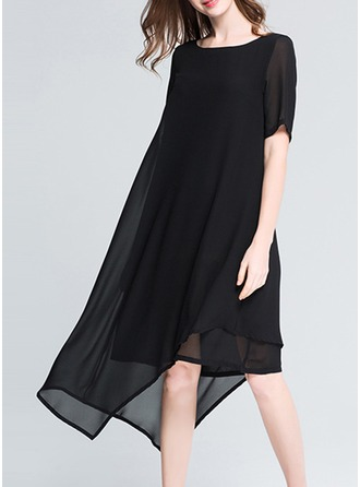 Chiffon With Stitching/Resin solid color Dress