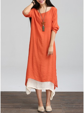 Cotton/Ramie With Stitching Asymmetrical Dress