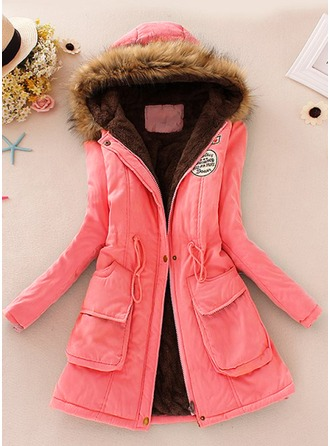 Faux Fur Long Sleeves Patchwork Slim Fit Coats ()