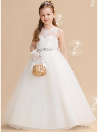 Ball-Gown/Princess Floor-length Flower Girl Dress - Tulle/Lace Sleeveless Scoop Neck With Beading/Bow(s)/V Back