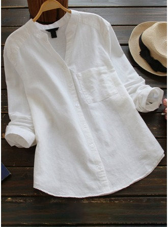 Plain Long Sleeves Cotton Stand-up Collar Casual Blouses Blouses