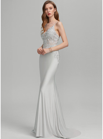Trumpet/Mermaid V-neck Sweep Train Jersey Prom Dresses With Sequins